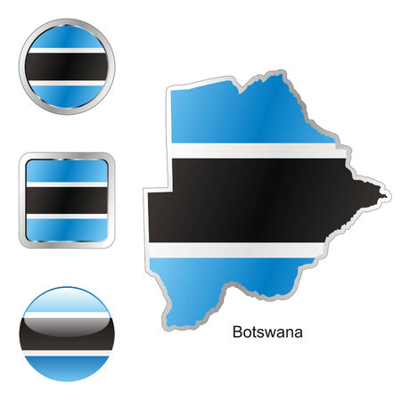 fully: fully editable flag of botswana in map and web buttons shapes