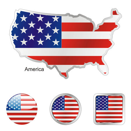 fully: fully editable flag of america in map and web buttons shapes  Illustration