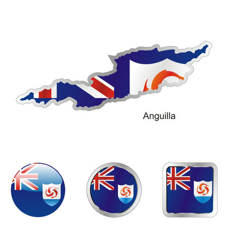 anguilla: fully editable flag of anguilla in map and web buttons shapes  Illustration