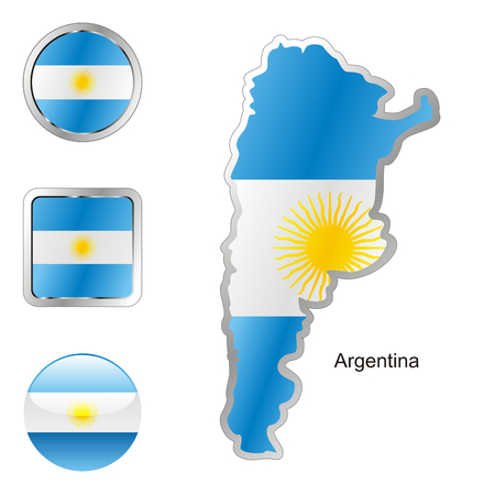 map of argentina: fully editable flag of argentina in map and web buttons shapes