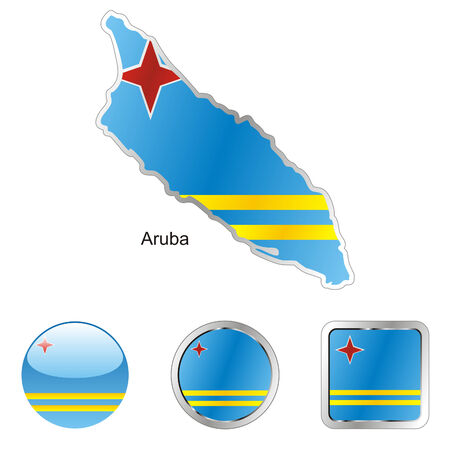 aruba: fully editable flag of aruba in map and web buttons shapes