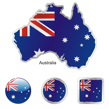 australia flag: fully editable flag of australia in map and web buttons shapes