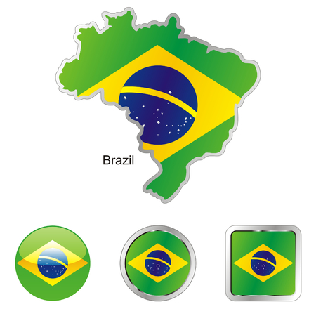 fully: fully editable flag of brazil in map and web buttons shapes