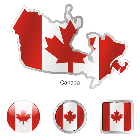 fully: fully editable flag of canada in map and web buttons shapes  Illustration