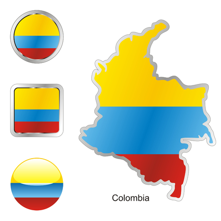 fully: fully editable flag of colombia in map and web buttons shapes  Illustration