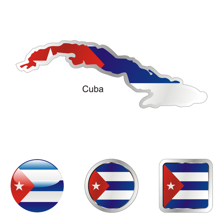 cuba flag: fully editable flag of cuba in map and web buttons shapes