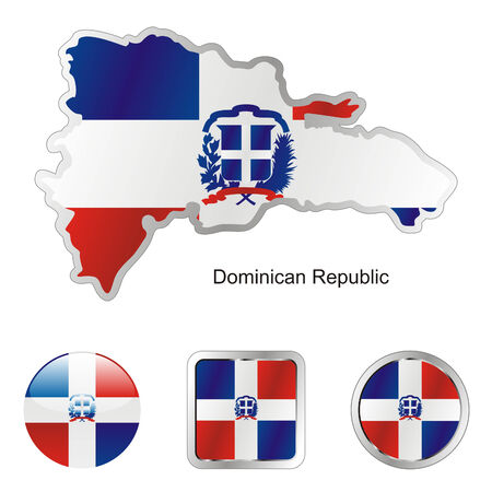 fully editable flag of dominican republic in map and web buttons shapes  Vector