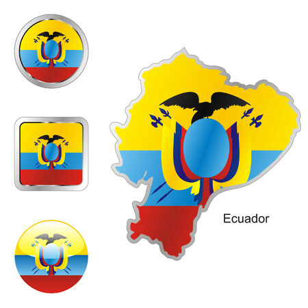 fully editable flag of cecuador in map and web buttons shapes  Vector