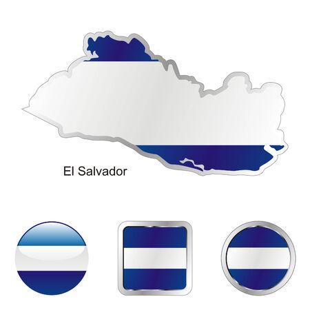 el salvador: fully editable flag of el salvador in map and web buttons shapes  Illustration
