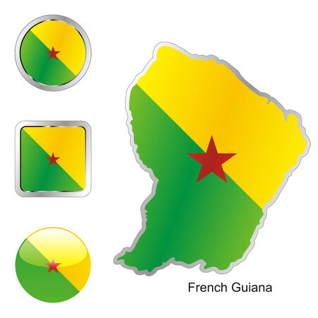 guiana: fully editable flag of french guiana in map and web buttons shapes