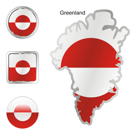 greenland: fully editable flag of greenland in map and web buttons shapes  Illustration