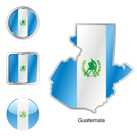guatemala: fully editable flag of guatemala in map and web buttons shapes