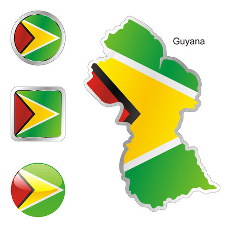 fully editable: fully editable flag of guyana in map and web buttons shapes