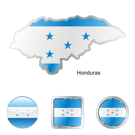 fully editable flag of honduras in map and web buttons shapes  Vector