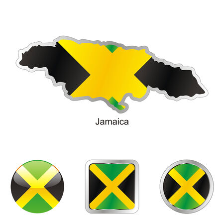 fully editable: fully editable flag of jamaca in map and web buttons shapes