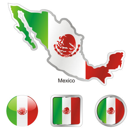 mexico map: fully editable flag of mexico in map and web buttons shapes