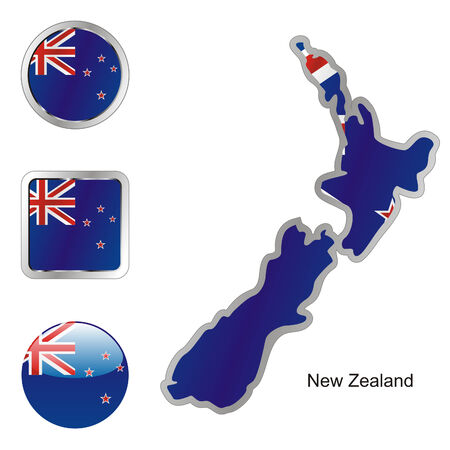 fully editable flag of newzealand in map and web buttons shapes  Vector