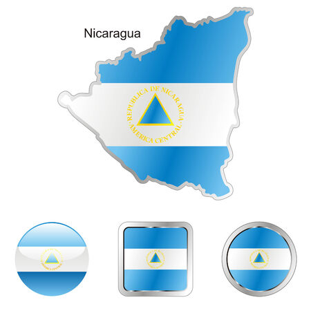 fully editable flag of nicaragua in map and web buttons shapes  Vector