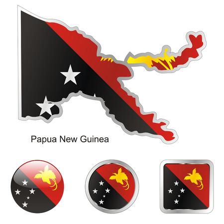 papouasie: Drapeau enti�rement modifiable de Papouasie Nouvelle Guin�e dans la carte et web boutons formes
