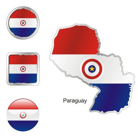 paraguay: fully editable flag of paraguay in map and web buttons shapes
