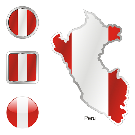 fully: fully editable flag of peru in map and web buttons shapes  Illustration
