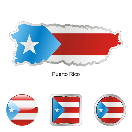 puerto: fully editable flag of puerto rico in map and web buttons shapes
