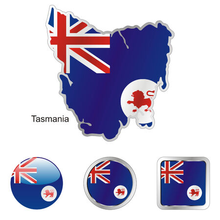 tasmania: fully editable flag of tasmania in map and web buttons shapes