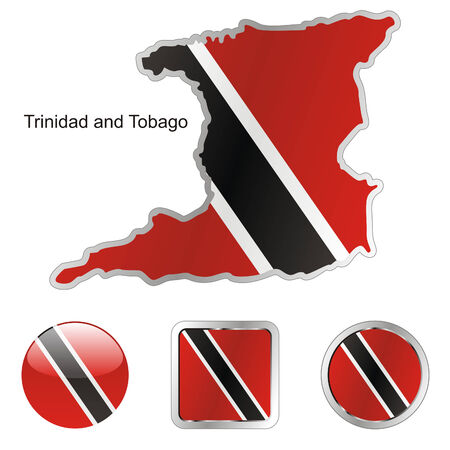 trinidad and tobago: fully editable flag of trinidad and tobago in map and web buttons shapes
