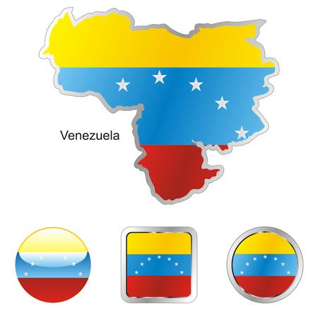 mapa de venezuela: formas de botones de completamente editable de la bandera de venezuela en el mapa y la web