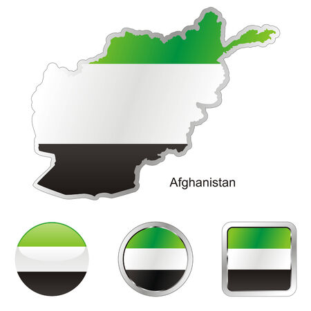 fully editable flag of afghanistan in map and internet buttons shape Stock Vector - 6256014