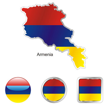 armenia: fully editable flag of armenia in map and internet buttons shape