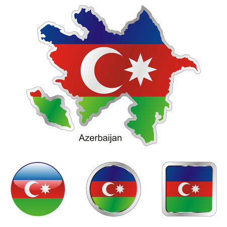 azerbaijan: fully editable flag of azerbaijan in map and internet buttons shape