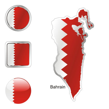 fully: fully editable flag of bahrain in map and internet buttons shape