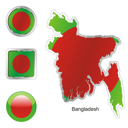 fully editable flag of bangladesh in map and internet buttons shape  Stock Vector - 6256163
