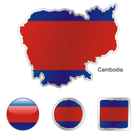 cambodia: fully editable flag of cambodia in map and internet buttons shape