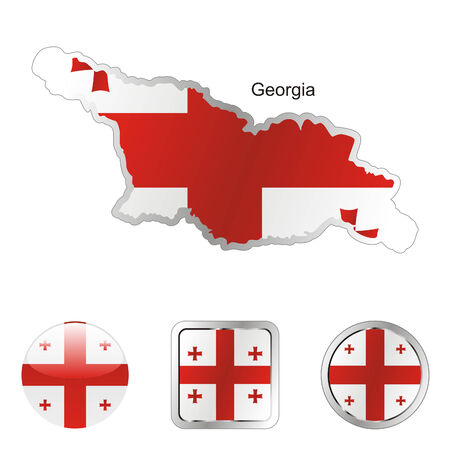 fully editable flag of georgia in map and internet buttons shape  Stock Vector - 6255806