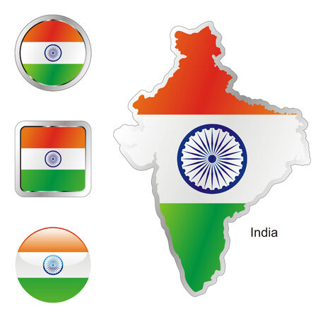 fully: fully editable flag of india in map and internet buttons shape