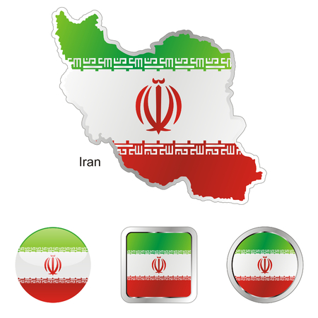 fully editable: fully editable flag of iran in map and internet buttons shape