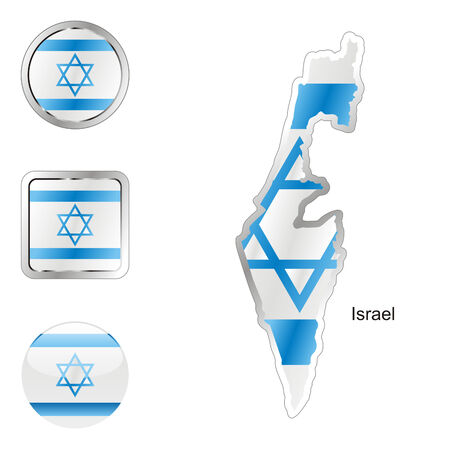 fully: fully editable flag of israel in map and internet buttons shape
