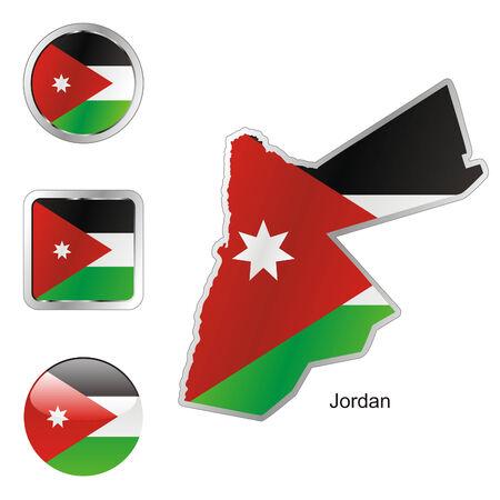 volledig bewerkbaar vlag van Jordanië in kaart en internet knoppen vorm  Stock Illustratie