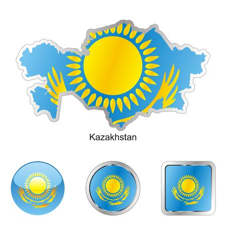 kazakhstan: fully editable flag of kazakhstan in map and internet buttons shape  Illustration
