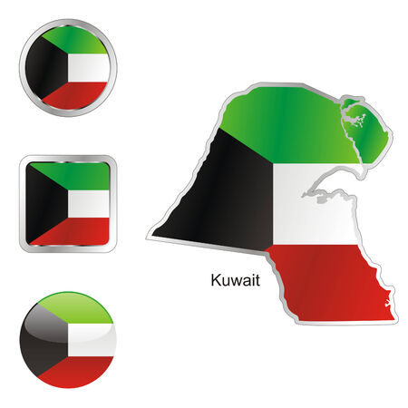 kuwait: fully editable flag of kuwait in map and internet buttons shape  Illustration