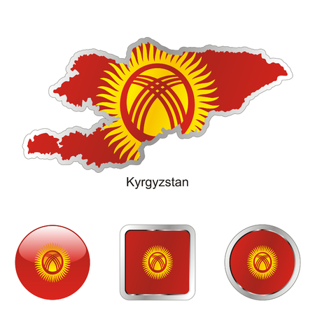kyrgyzstan: fully editable flag of kyrgyzstan in map and internet buttons shape