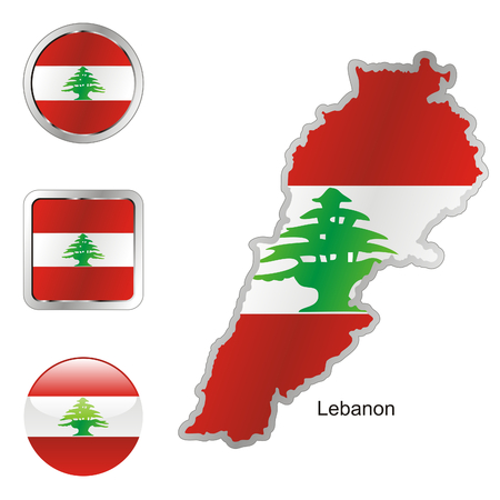 fully: fully editable flag of lebanon in map and internet buttons shape  Illustration