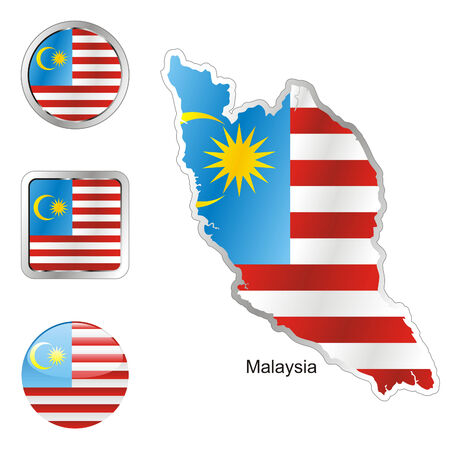 fully editable flag of malaysia in map and internet buttons shape  Vector