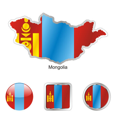 fully editable flag of mongolia in map and internet buttons shape  Stock Vector - 6255875