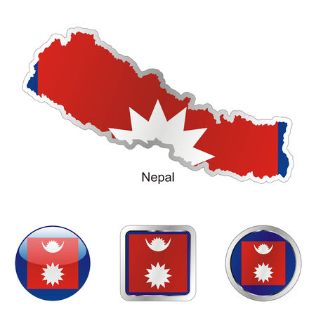 nepal: fully editable flag of nepal in map and internet buttons shape