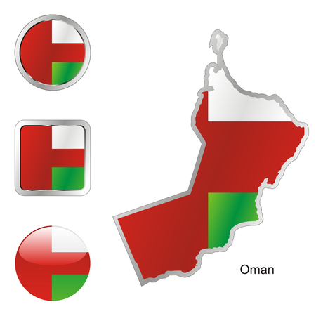 fully: fully editable flag of oman in map and internet buttons shape  Illustration