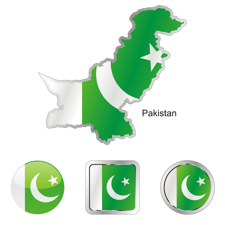 fully editable flag of pakistan in map and internet buttons shape Stock Vector - 6256015