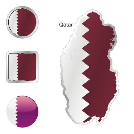 fully: fully editable flag of qatar in map and internet buttons shape